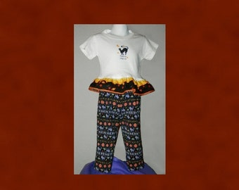 Halloween pants set, Toddler size 24 mos Ruffled T-Shirt & Knit Pants Black Cat Hocus Pocus Pumpkins Orange Black White