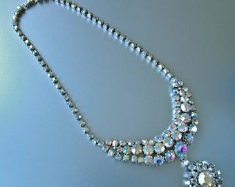 Necklace 50's Bib Czech Aurora Borealis Wedding Bridal Large Rhinestone and Silver Mad Men Princess Style