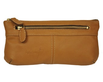 Cosmetic leather case, handmade, in Tan color, named Stylus MADE TO ORDER