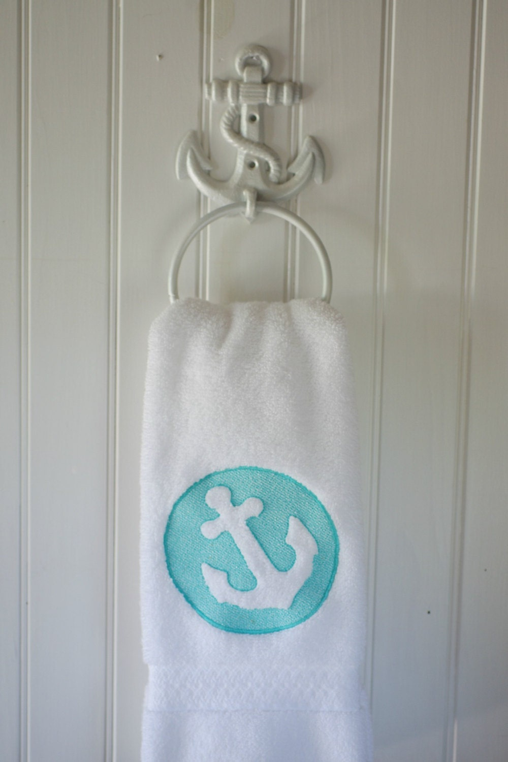 Embossed embroidered anchor bath hand towel 16x30 beach for Bathroom decor etsy