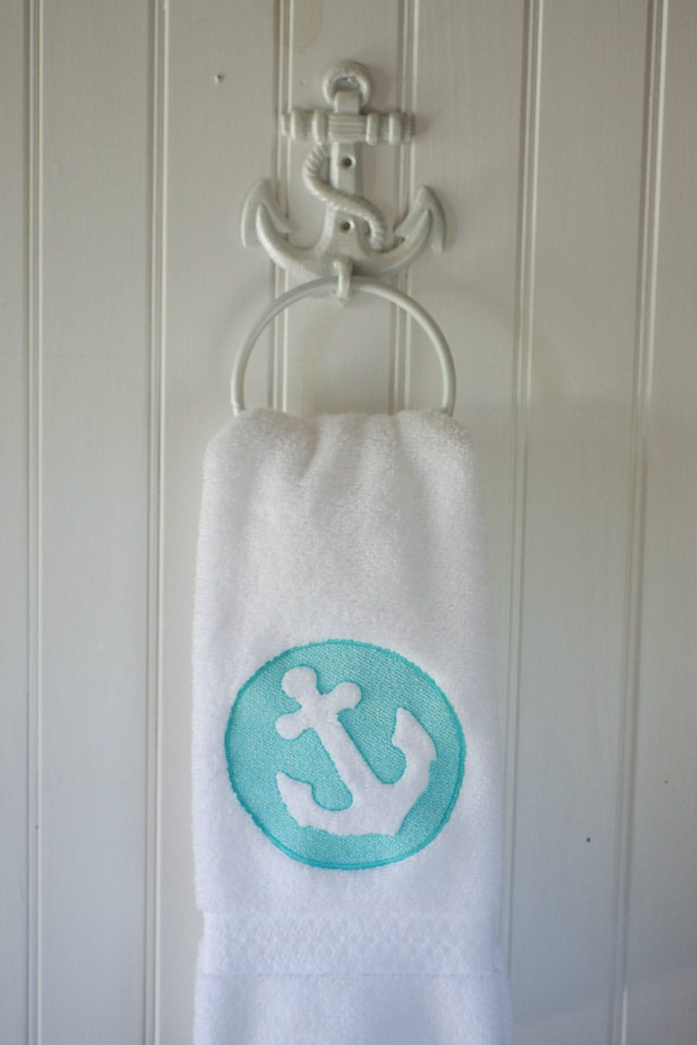 Embossed embroidered anchor bath hand towel 16x30 beach for Anchor decor