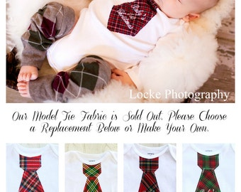 Baby Boy Holiday Gift, Christmas 2015 or Baby's 1st Christmas Embroidered Tie Bodysuit.  Family Holiday Pictures.  Red Green Argyle Plaid