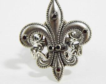 Silver fleur de lis ring, Renaissance ring, Art Nouveau, Tudor jewellery, fleurdelys, Gothic ring, silver filigree ring, adjustable ring