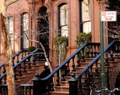 New York City Photography - West Village Photo - Urban Home Decor - Manhattan City Streets Brownstone Print NYC Wall Art Front Steps