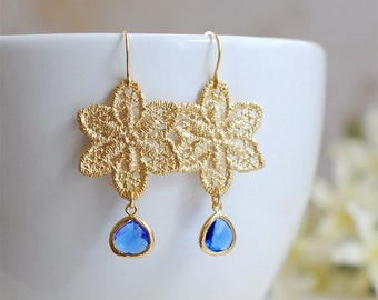 Matte Gold Plated Metal Lace Earrings. Gold Metal Lace Filigree Cobalt Blue Glass Drop Earrings. Bridal Earrings, Bridesmaid Gift