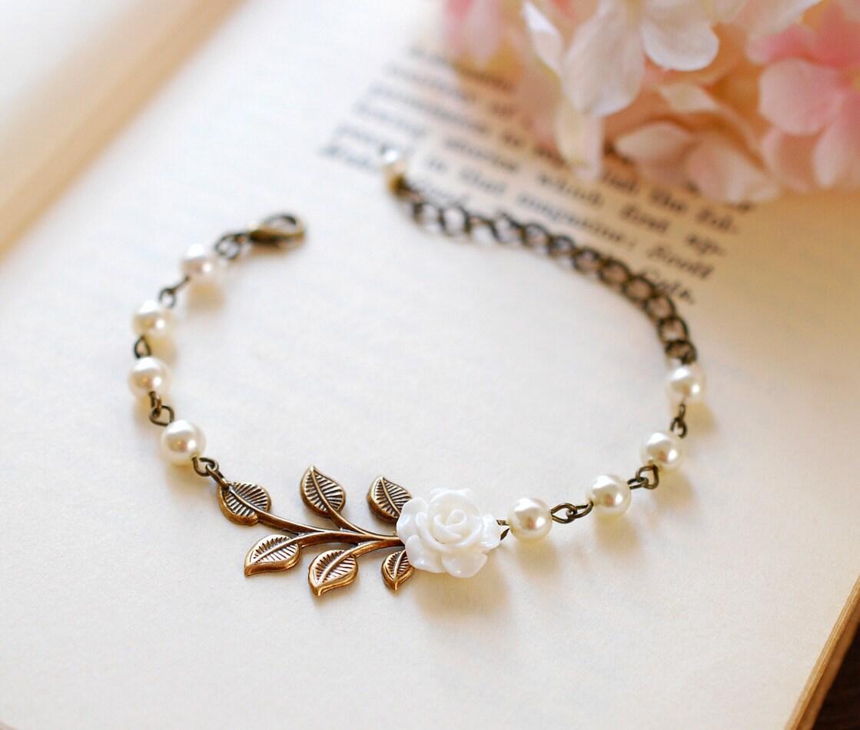 Bridal Flower Bracelet : Bridal bracelet wedding flower girl white