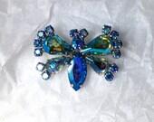 B. David AB Butterfly Rhinestone Brooch Vintage Designer