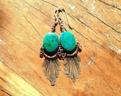 Santa Fe style Sterling Silver and Turquoise Bohemian Chic Gypsy Dangle earrings.