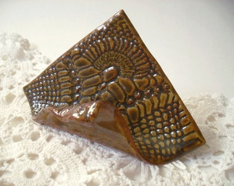 Business Card Holder in Amber Brown, Textured with Vintage Lace, Handmade