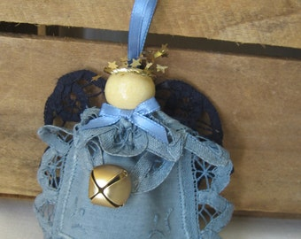 Rustic Blue Angel Ornament, Battenburg Lace Doily Angel, Christmas Tree Ornament, Holiday Angel Collector SnowNoseCrafts