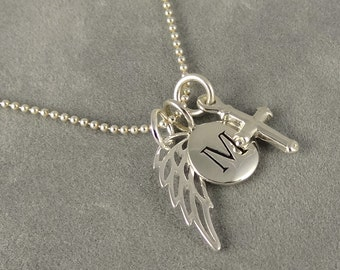 Sterling Angel Wing, Cross, Initial Charm Necklace - Faith - Protection - Spiritual - First Communion