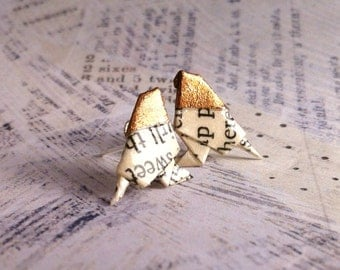 Bronze Headed Literary Origami Bird Post Earrings