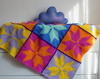 Baby Bedding Crochet Pattern Blanket - geometric granny square crochet tapestry blankei - Instant DOWNLOAD