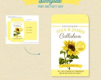 Printable SUNFLOWER Seed Packet Favor  - DIY - Shower / Wedding
