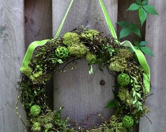 Year-round wreath-Forest Fairy wreath, green, forest-woodland wedding decor, neutral earth colors, natural dried materials, springtime