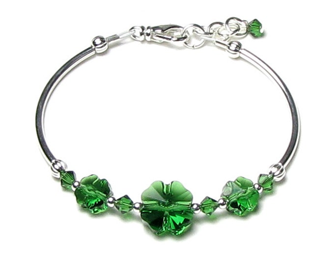St. Patrick's Day Bracelet Green Shamrock Swarovski Crystal Four Leaf Clover Silver Emerald Spring Saint Patricks Day Jewelry Gift For Women