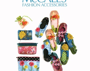 Womens Slippers Pattern Uncut McCalls M6715 Slip On Ballet Shoes Zippered Pouch Bridesmaid Clutch Floral Crafts Millinery Sewing Patterns