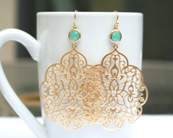 Mint and Gold Filigree Earrings. Mint Gold Earrings. Mint Green Earrings.Gold Earrings.Statement Earrings.Big Earrings.Long Earrings.Simple
