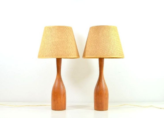 vintage mid century modern wooden table lamps by vintagerescuer