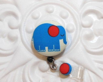 Retractable Badge Holder Id Reel  Fabric Covered Button Blue Cute Elephant