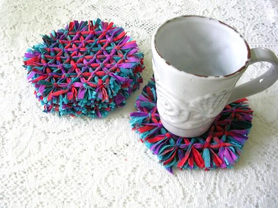 Drink Coasters - Patio Dining - Woven Coasters  - Hexagon Loom Coaster Set - Multi-Color Purple, Blue Boho Decor