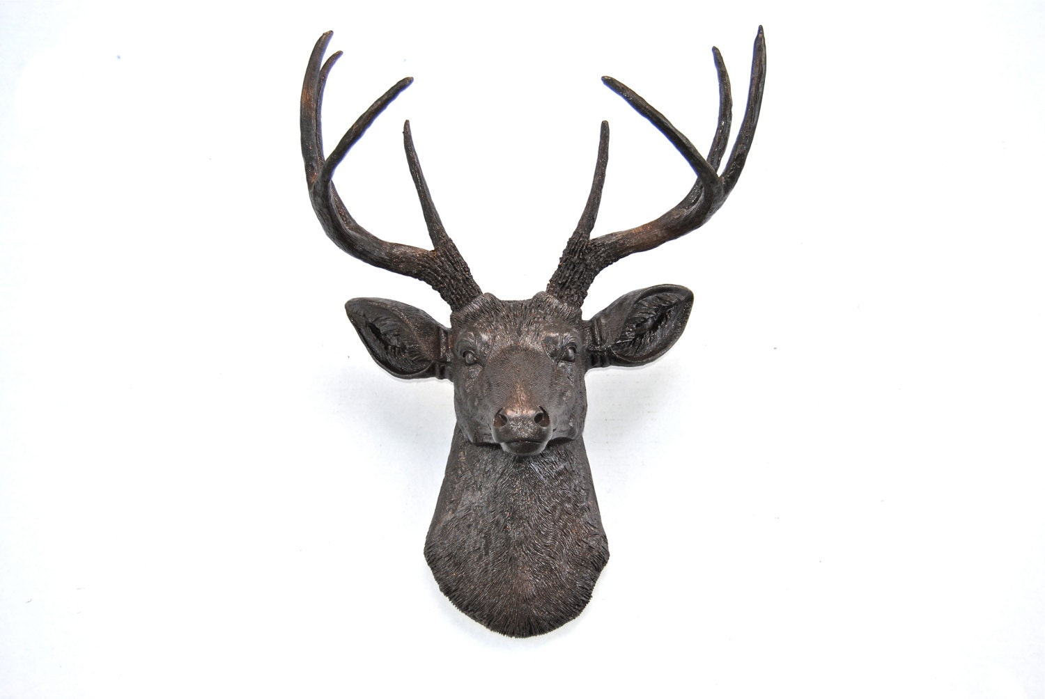 Faux Deer Head In Dark Brown With Copper Reflective Flakes