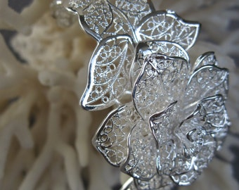 Sterling Silver Lovely Lace Flower Cuff Bracelet