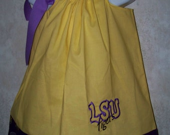 LSU Pillowcase Dress / Purple & Gold / Geaux Tigers / LSU Baby / Infant / Baby / Toddler / Girl / Custom Boutique Clothing