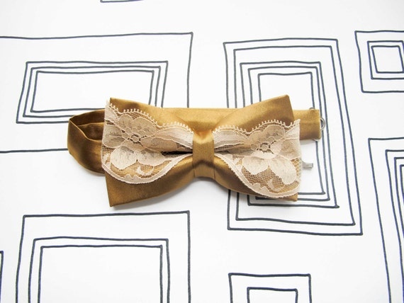 Retro glamour bow tie for the ladies, Golden mustard beige lace valentine's bowtie