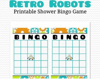 Robot Baby Shower Game, Bingo Card, Gift Bingo Party Game -- Printable, Instant Download