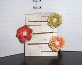 Flower Bobby Pins Hair Pins 2  Shades of Rust ,1 Green Shaped Paper Flowers
