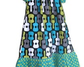 Girls Peasant Dress Guitars Teal Green Blue Polka Dots Ruffles