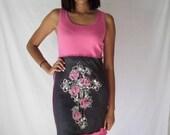 Upcycled Tshirt Sundress Cross Roses Rhinestones Fleur de Lis Hot Pink Black Womens Small Medium