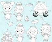 princess clipart stamps digital clip art - Fairytale Princess Stamps