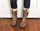 Ivory Knit Boot Toppers Ribbed Boot Cuffs Leg Warmers Knitted