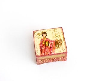Art Jewelry Box, Proposal Box, Valentine's Days Gift, Asian Style, Gold & Pink Japanese Woman, Hieroglyph box