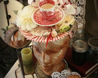 Ladies Spring Hat: Red and White Teacup Hat