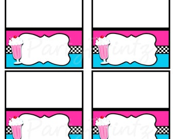 INSTANT DOWNLOAD - Printable 50's Diner - Food / Place Cards / Favor Tags