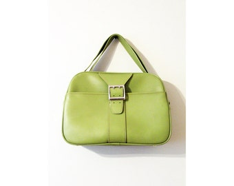 LIME Green Weekender Bag + Vintage 70s Overnight Bag + Lime Green Vegan Leather Bag + Green Faux Leather Bag + Vintage Travel Bag +