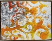 Orange Swirls and Flower Handmade Card