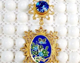 "SALE!  Handmade NECKLACE, VINTAGE Chain & Lg. Vintage Blue Rhinestone - ""Morning Mist"" - Bohemian Gold ToneSettings, Versetile Piece"