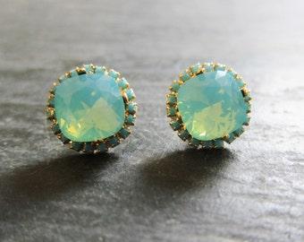 Turquoise Crystal Rhinestone Earrings Mint Green Teal Blue Swarovski Crystal Studs Gold Post Aqua Wedding Bridal Regal Exotic Victorian
