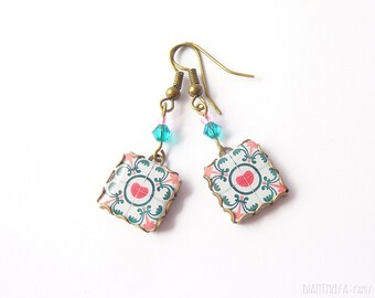 Heart / love. Floral tile Earrings  Pink, turquoise & white  Herbal earrings Arabesque Valentine's day