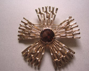 Mid Century Pin Atomic Rhinestone Brooch Smoky Topaz Open Back Glass  Fall brown costume jewelry Mad Men