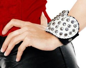 White wedding leather bracelet heart Large bracelet Rock cuff Crystal rhinestones wedding jewelry Bride ONE OF A KIND wedding jewelry