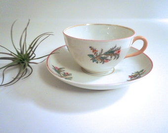 Porcelain Tea Cup and Saucer with Hand Painted Pink Flowers, Pink and Gold Trim