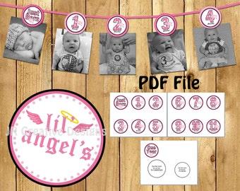 Lil Angel Photo Banner 12 months photo banner Lil Angel Girl Banner 1st year Lil Angel Banner Digital File DIY Printable PDF
