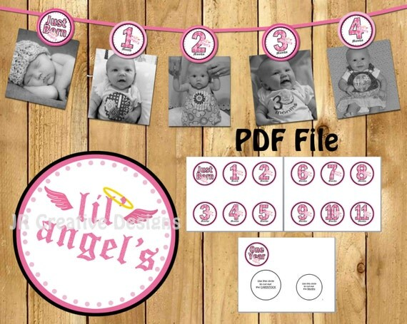 Lil Angel Photo Banner 12 months photo banner Lil Angel Girl Banner 1st year Lil Angel Banner Digital File DIY Printable PDF