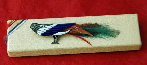 Vintage RHINESTONES n FEATHERS BIRD Pin Brooch, Charming Unusual Assorted Colors From The 1950s, White n Blue, Original Box,