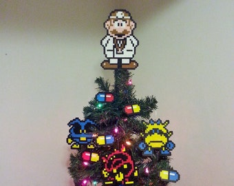 Dr Mario Perler Bead Christmas Tree Topper and Ornament Set (10 Piece) - nintendo